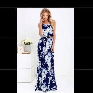 NWT Blue Floral Two Piece Maxi Dress